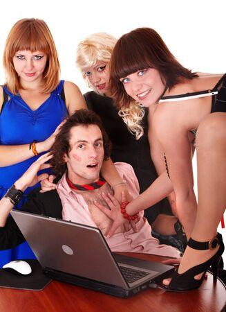 mujer con corbata: Hombre de negocios con la ni�a en el cargo. Humor.Isolated.