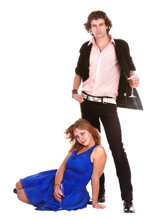 Couple with glass of wine on wite background. Isolated. photo