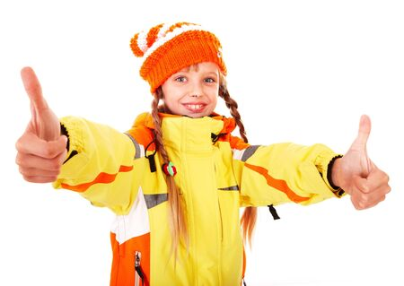 Girl in autumn orange  hat with thumb up.  Isolated. Stock Photo - 7777906