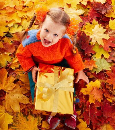Little girl in autumn orange leaves and gift box. Outdoor. Stock Photo - 7778724