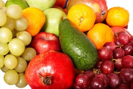 Close up of group fruit. White background. photo