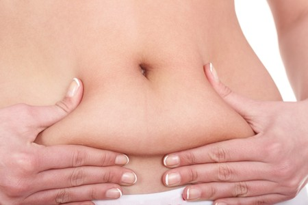 belly fat: Fat female body part. Isolated.