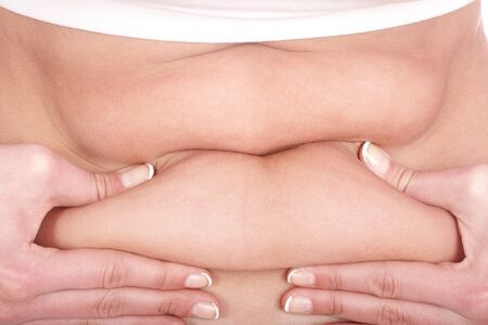 Fat female body part. Isolated. photo