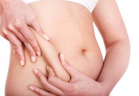 pancia grassa: Parte del grasso di corpo femminile. Isolato.