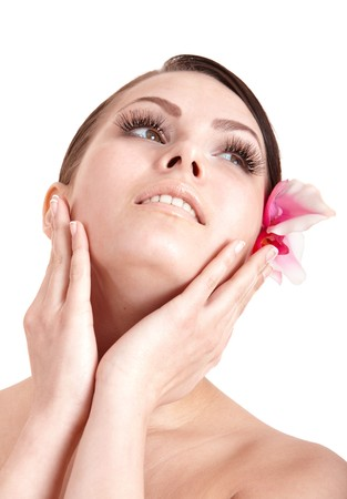parlour: Beautiful girl with orchid flower. Isolated.