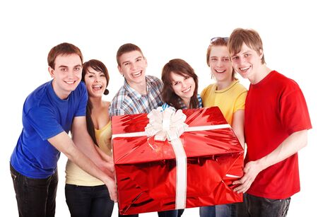 red gift box: Group of people with big red gift box. Isolated.