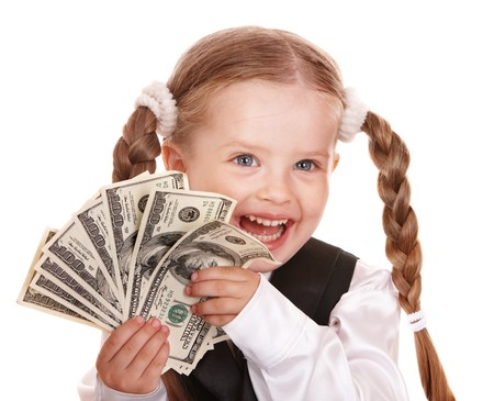 Happy little girl with money dollar. Isolated. Stock Photo - 7778902