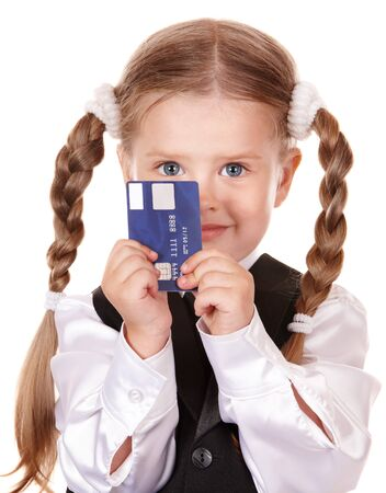 little girl smiling: Happy girl  in business suit with credit card. Isolated. Stock Photo