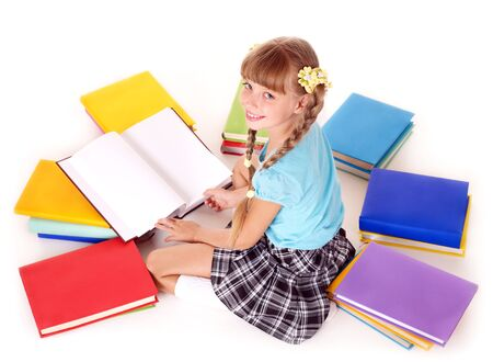 Child with pile of books  reading on floor. Isolated. Stock Photo - 7779698