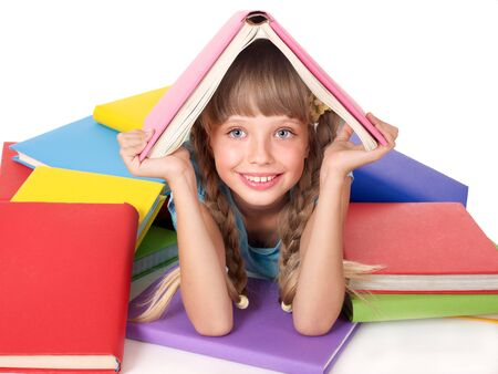 Little girl with pile of books on head. Isolated. Stock Photo - 7779829