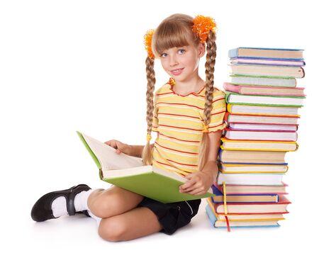Little girl  reading  pile of books. Isolated. Stock Photo - 7779699