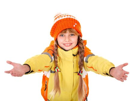 Girl in autumn orange  hat with outstretched arm. Isolated. Stock Photo - 7779885
