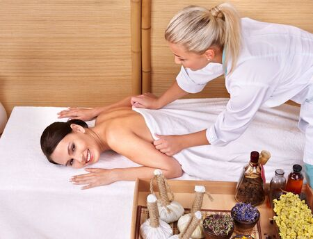 Young beautiful woman on massage table in beauty spa.  Series. Stock Photo - 7779991
