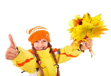 Girl in autumn orange hat holding leaves thumb up.  Isolated. Stock Photo - 7779912