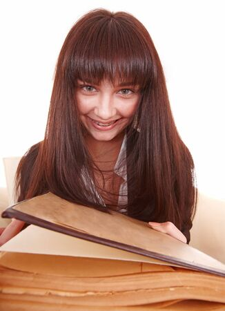 Young beautiful woman read book. Isolated. photo
