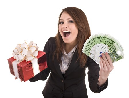 Business woman with money and gift box.  Isolated. photo