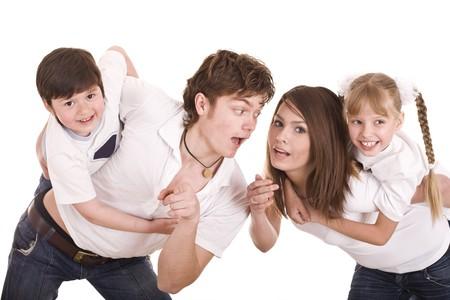 Happy family upbringing children. Isolated Stock Photo - 7889916