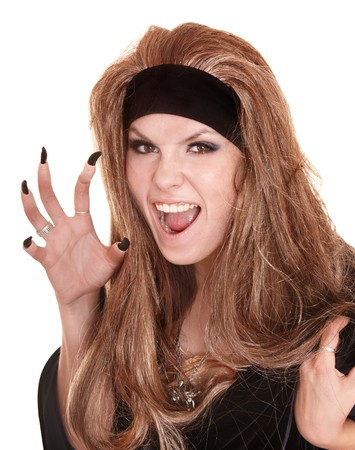 witch in black costume and long hair with claw finger.Isolated. Stock Photo - 7890096