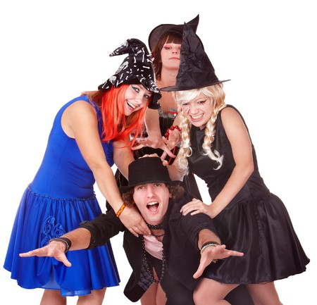 christmas costume: Group of people in  witch costume. Isolated. Stock Photo
