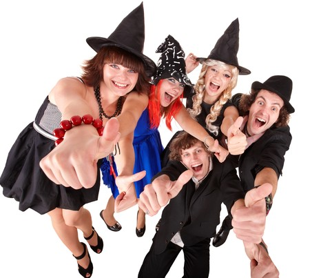 business costume: Group of people in  witch costume. Isolated. Stock Photo