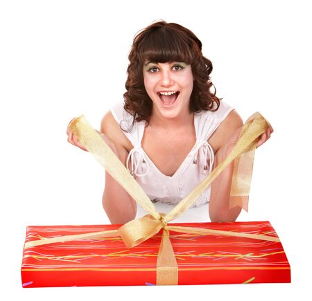 red gift box: Girl with big red  gift box. Isolated.
