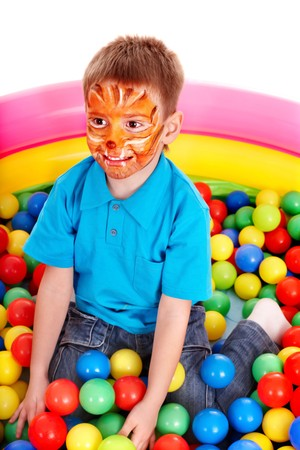 playcentre: Little girl with group ball. Make up.