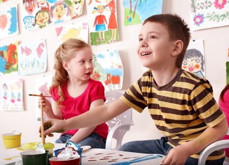 Children painting in art class. Child development. Stock Photo - 7890014