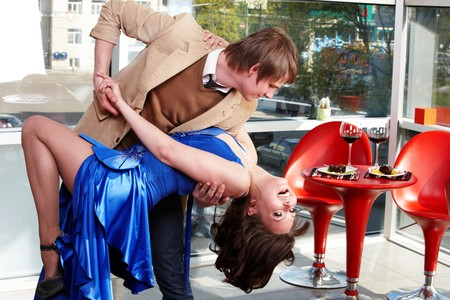 Loving couple on date dancing in restaurant . Stock Photo - 7890082