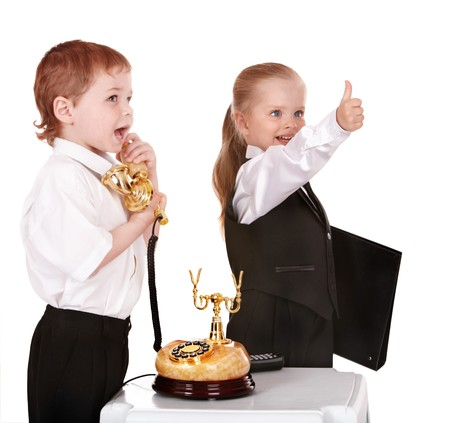 Children in business suit with telephone and folder . Isolated. photo