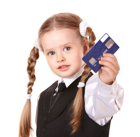 blonde little girl: Happy girl  in business suit with credit card. Isolated. Stock Photo
