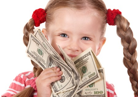 Happy child with money dollar. Isolated. Stock Photo - 7890136