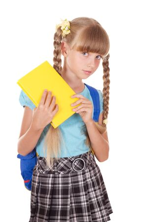 uniform skirt: Little girl with backpack holding book. Isolated. Stock Photo