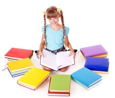 Child with pile of books  reading on floor. Isolated. Stock Photo - 7890118