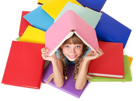 Little girl with pile of books on head. Isolated. Stock Photo - 7890139