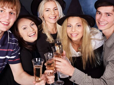 Group young people drink champagne at nightclub. Stock Photo - 7890198