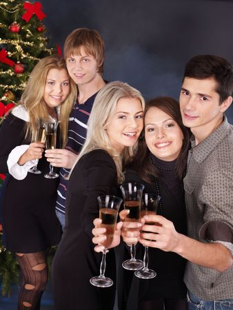 Group young people drink champagne at nightclub. Stock Photo - 7890197