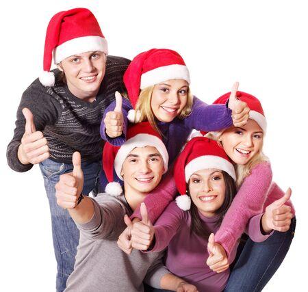 산타 모자: Group young people at party in santa hat. Isolated.