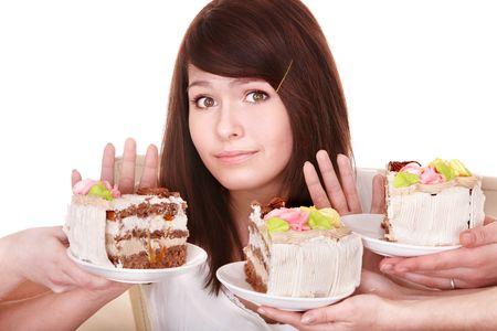 女の子はパイを食べることを拒否します。分離されました。