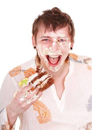 Happy man with cake on birthday. Isolated. photo