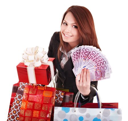 money box: Young woman holding euro money, and gift box,. . Isolated.