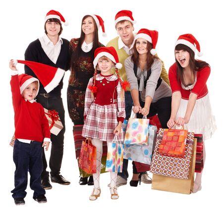 산타 모자:  Happy group people with children in santa hat .  Isolated. 스톡 사진