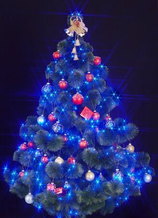 Christmas tree with light and blue star. Black background. photo