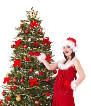 Christmas girl in santa hat holding stack  gift box.. Isolated. Stock Photo - 8122463