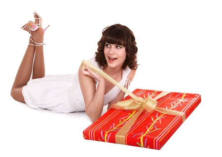 red gift box: Girl and big red gift box. Isolated. Stock Photo