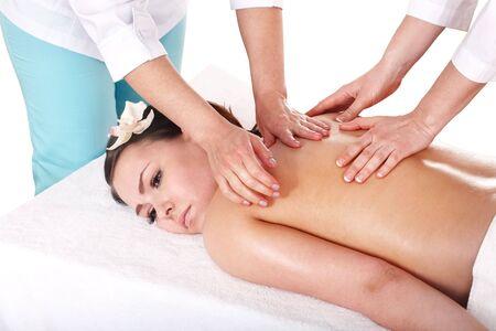 čtyři lidé: Beautiful young woman white girl having thai massage.