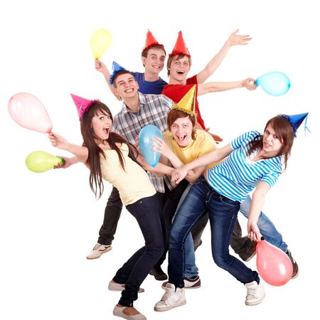 Group of teenage in party hat and baloon. Isolated.