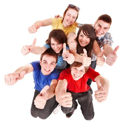 group of teens: Group people with thumbs up. Isolated.