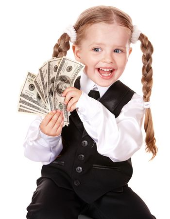 Happy little girl with money dollar. Isolated. photo