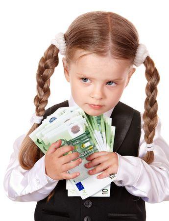 soldi euro: Bambino triste con denaro euro. Isolato.