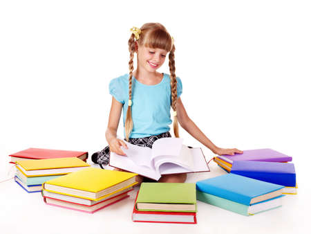 Child with pile of books  reading on floor. Isolated. Stock Photo - 8116410